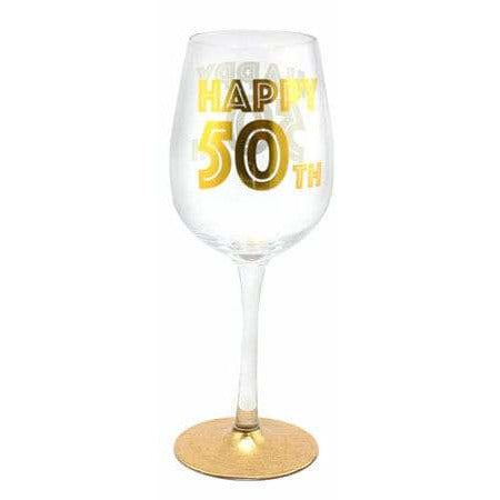 Happy 50th Gold Celebration Wine Glass