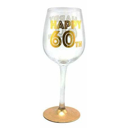Happy 60th Gold Celebration Wine Glass