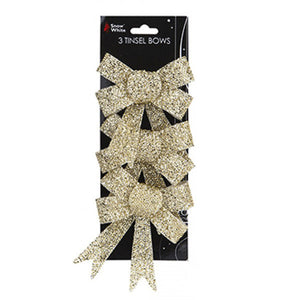 Gold Tinsel Bows 3pk