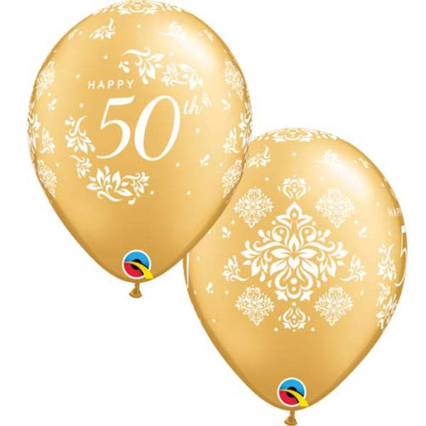 50th Anniversary Damask Latex Balloons x25