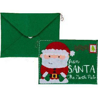 Green Felt Santa Claus Envelope Bag