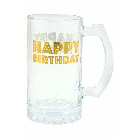 Happy Birthday Gold Celebration Tankard Glass