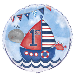 1st Birthday Nautical Foil Balloons