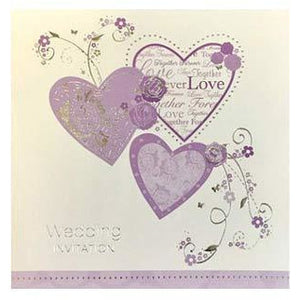 Lilac Hearts Wedding Card Invitations