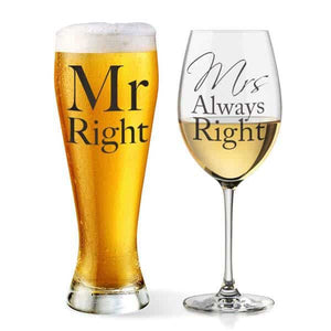 Mr And Mrs Always Right Glass Set