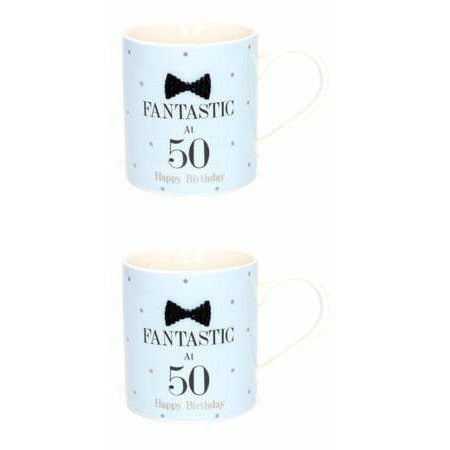 Mad Dots Black Tie 50th Birthday Mug