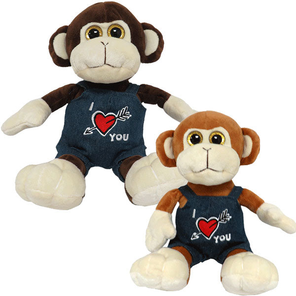 "10"" Monkey In Love Dungarees Plush"