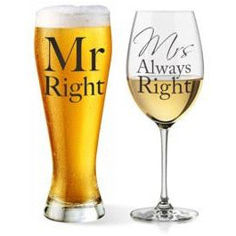 Mr And Mrs Always Right Glass Set - mypartymonsterstore