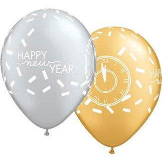 New Year Confetti Countdown Latex Balloons 25pk