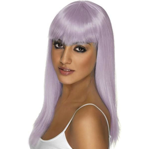 Lilac Long Straight Wigs With Fringe