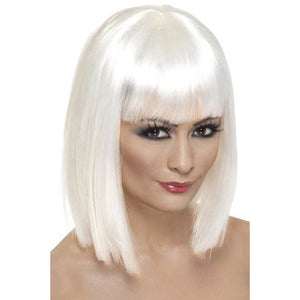 Ladies White Glam Wigs With Fringe - mypartymonsterstore
