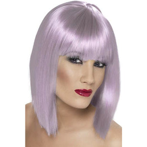 Ladies Lilac Glam Wigs With Fringe