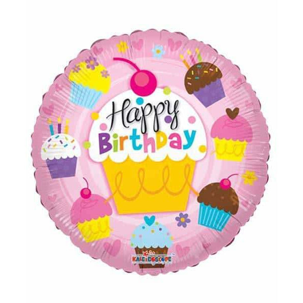 Happy Birthday Cupcake Foil Balloon