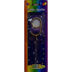 Gold Number 9 Sparklers - mypartymonsterstore
