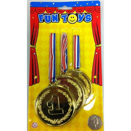 Plastic Assorted Winner Medals x3