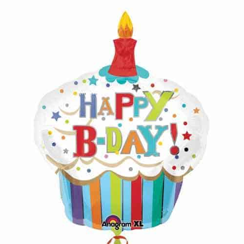 Happy Birthday Striped Cupcake Supershape Balloon