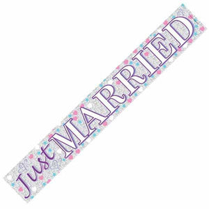 Just Married Holographic Banners