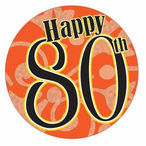 Happy 80th Party Badge - mypartymonsterstore
