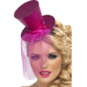 Mini Hot Pink Glitter Top Hat