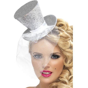 Mini Silver Glitter Top Hat