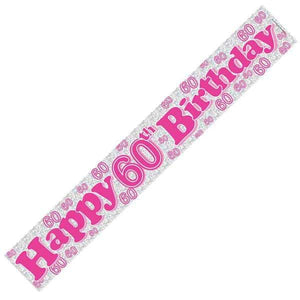 Happy 60th Birthday Pink Banners