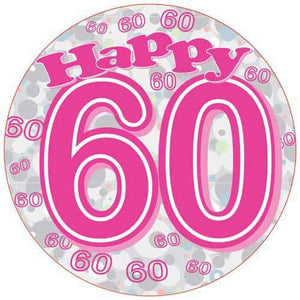 Happy 60th Pink Holographic Party Badge - mypartymonsterstore
