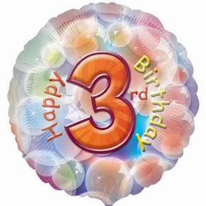 Happy 3rd Birthday Foil Balloon - mypartymonsterstore