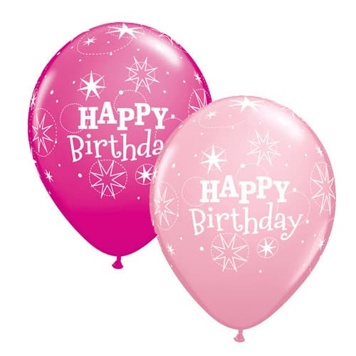 Pink And Wild Berry Birthday Sparkle Latex Balloons x25