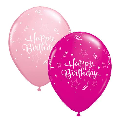 Pink And Wild Berry Birthday Shining Star Latex Balloons x25