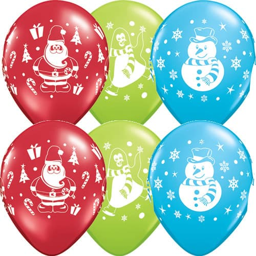 Snowman Penguin And Santa Christmas Latex Balloons 25pk