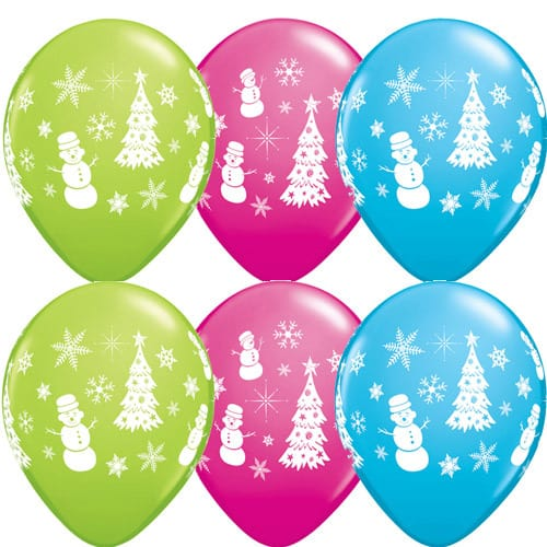 Festive Winter Scene Christmas Latex Balloons 25pk