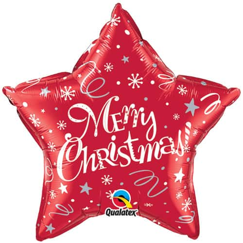 Red Star Festive Merry Christmas Foil Balloons