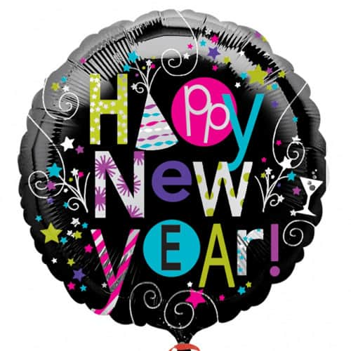 Playful Happy New Year Foil Balloons