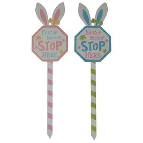 Easter Bunny Stop Here Wooden Sign