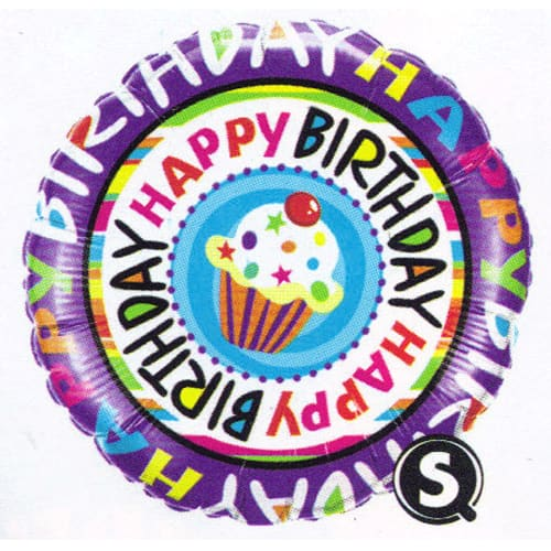 Happy Birthday Repeat Cupcake Foil Balloon