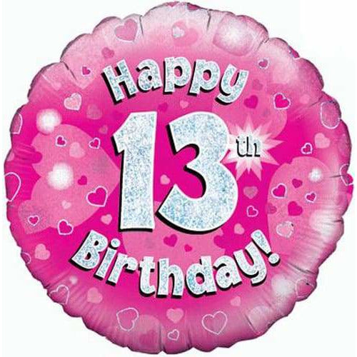Happy 13th Birthday Pink Holographic Foil Balloon
