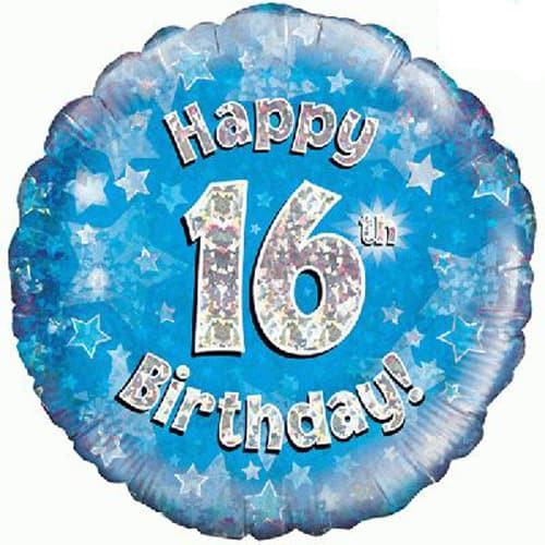 Happy 16th Birthday Blue Holographic Foil Balloon