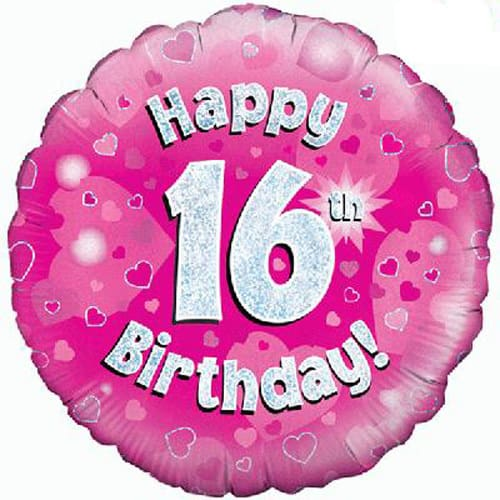 Happy 16th Birthday Pink Holographic Foil Balloon