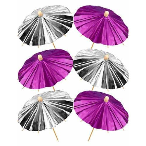 Pink And Silver Foil Parasols x12