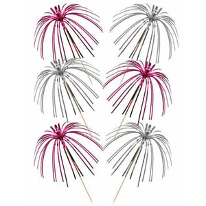 Pink And Silver Foil Palm Picks x30 - mypartymonsterstore