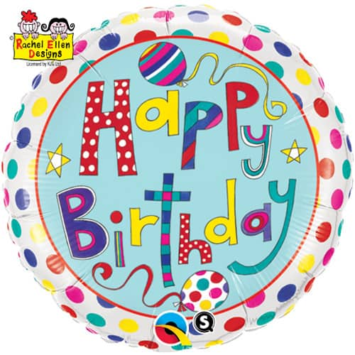 Happy Birthday Polka Dots And Stripes Foil Balloon