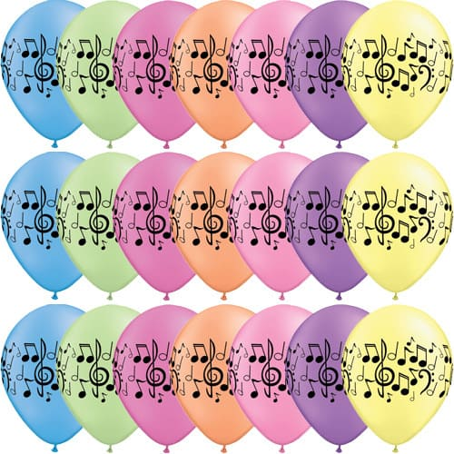 Musical Notes Assorted Latex Balloons x25