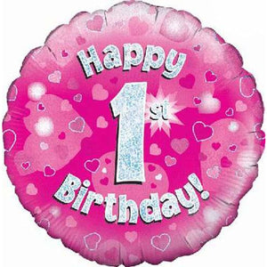 Happy 1st Birthday Pink Holographic Foil Balloon - mypartymonsterstore