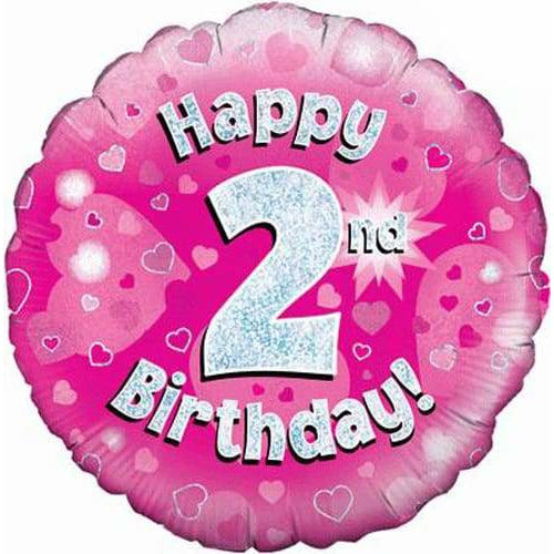 Happy 2nd Birthday Pink Holographic Foil Balloon