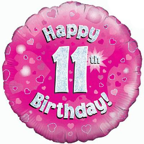 Happy 11th Birthday Pink Holographic Foil Balloon