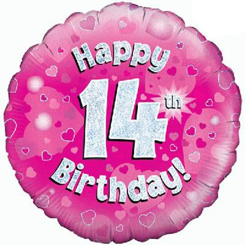 Happy 14th Birthday Pink Holographic Foil Balloon