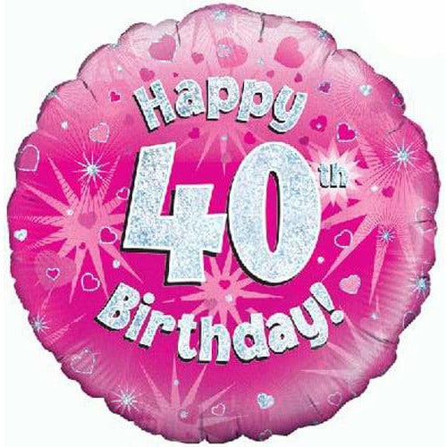 Happy 40th Birthday Pink Holographic Foil Balloon