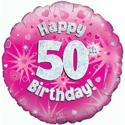 Happy 50th Birthday Pink Holographic Foil Balloon
