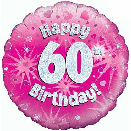 Happy 60th Birthday Pink Holographic Foil Balloon