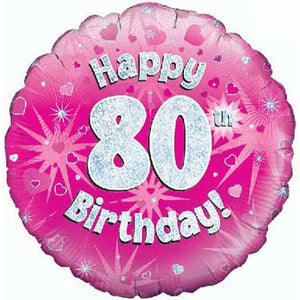 Happy 80th Birthday Pink Holographic Foil Balloon